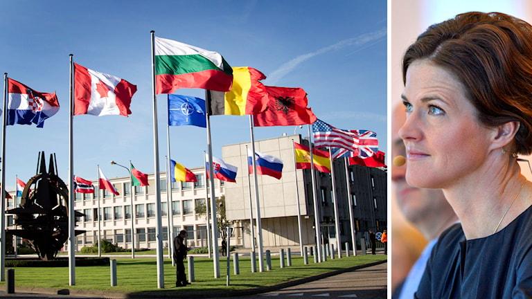 Anna Kinberg Batra, partiledare för Moderaterna, Nato-högkvarteret i Bryssel. Foto: TT