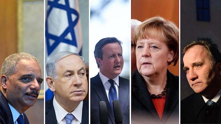 Paris, sorg, Eric Holder, Benjamin Netanyahu, David Cameron, Angela Merkel, Stefan Löfven
