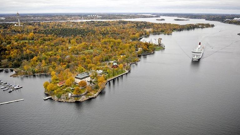 Ubåten ska ha synts här i Stockholms inlopp. Foto: Bertil Ericson/TT.