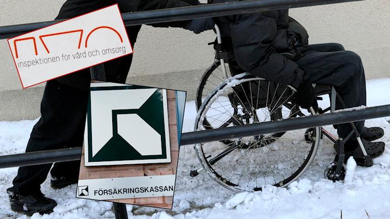 Försäkringskassan och Inspektionen för vård och omsorg, funktionshindrad man i rullstol. Foto: TT