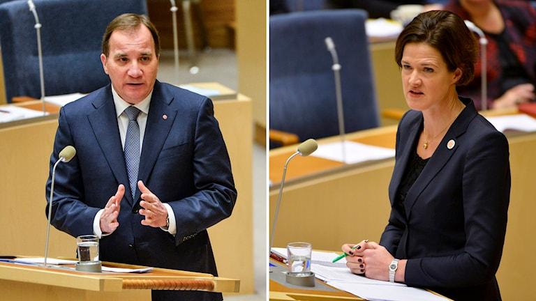 Stefan Löfven (S) och Anna Kinberg Batra (M) i riksdagen. Foto: Henrik Montgomery/TT.