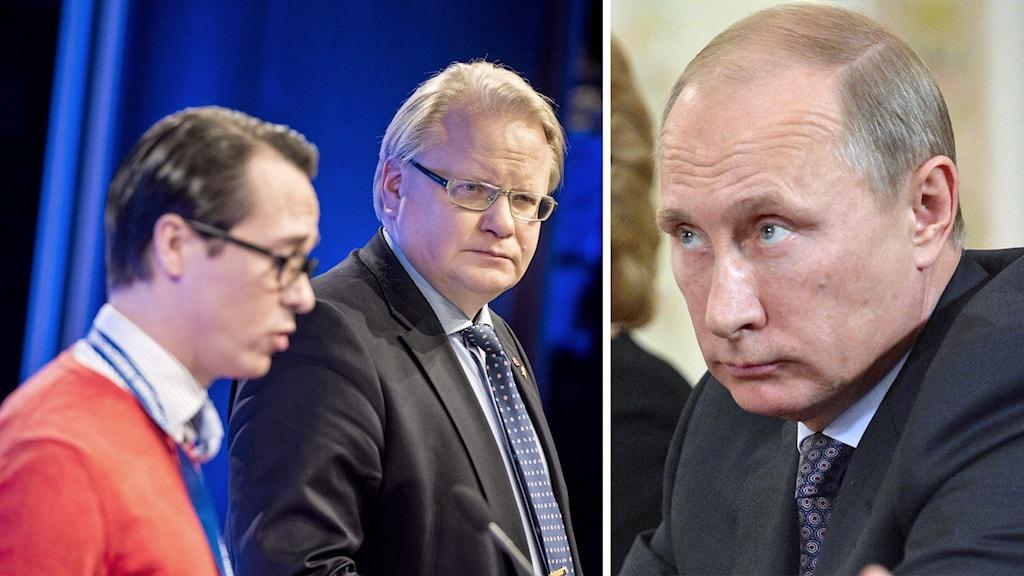 Delad bild: Finlands försvarsminister Carl Haglund, Peter Hultqvist och Vladimir Putin. Foto: Pontus Lundahl/TT samt Alexander Nemenov/AP.