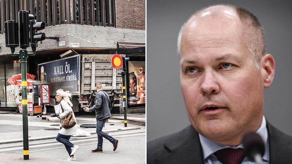 Vänster: Lastbilen utanför Åhléns på Drottninggatan. Höger: Morgan Johansson.