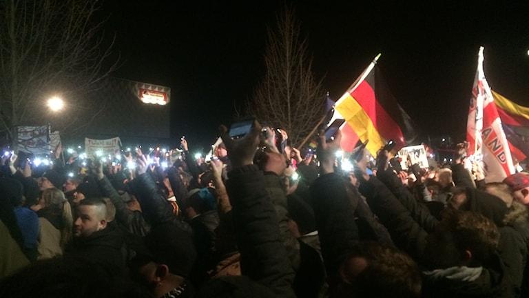 Pegidademonstration i Dresden. Foto: Daniel Alling/Sveriges Radio.