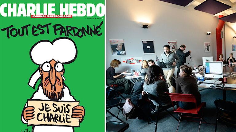 Omslaget på tidningen Charlie Hebdos nya nummer, Charlie Hebdo och tidningen Liberations redaktioner. Foto: TT/AP och Charlie Hebdo.