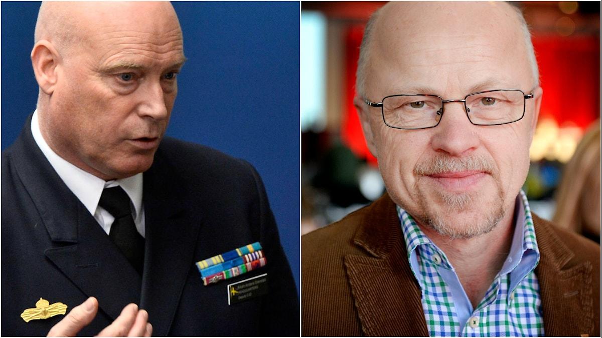 Försvarets britädande insatschef Anders Grenstad och Vänsterpartiets försvarspolitiske talesperson. Foto: TT