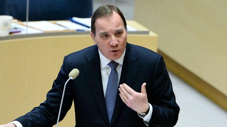 Statsminister Stefan Löfven (S) under dagens riksdagsdebatt. Foto: TT
