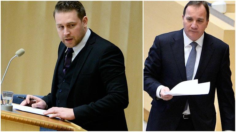 SD-ledaren Mattias Karlsson yrkade på misstroendeomröstning mot Stefan Löfven (S).