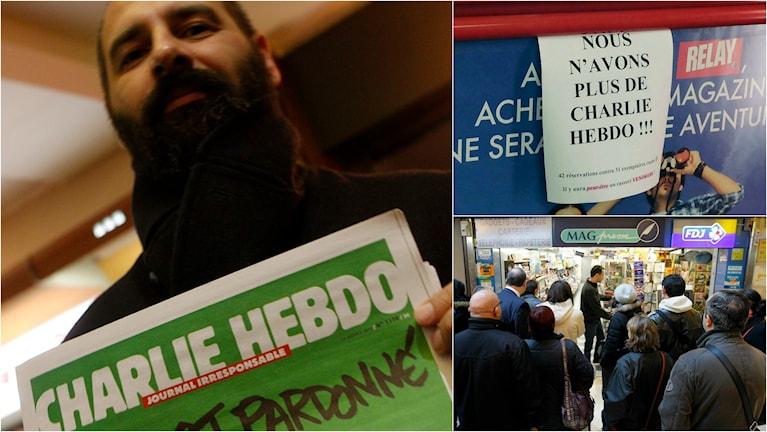 En man visar stolt upp sitt nummer av senaste Charlie Hebdo. Samtidigt köade mängder med människor tills tidningen sålde slut.