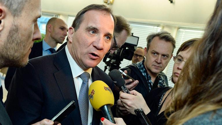 Statsminister Stefan Löfven efter partiledardebatten. Foto: Claudio Bresciani/TT.