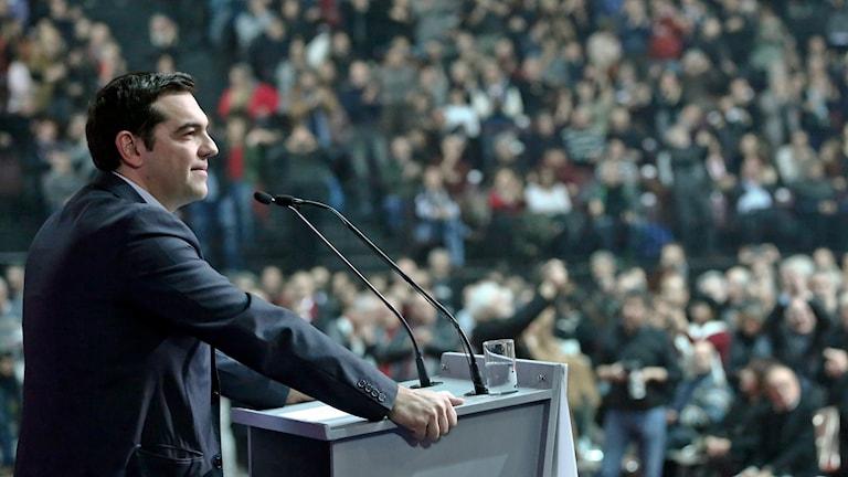 Syrizas partiledare Alexis Tsipras. Foto: Petros Giannakouris/AP.