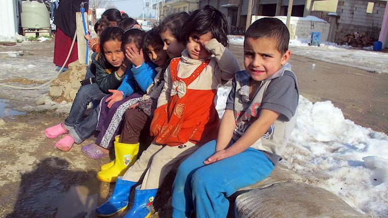 Flera barn som sitter på rad i ett tältläger i Bekaadalen i Libanon. Foto: Katja Magnusson/Sveriges Radio.