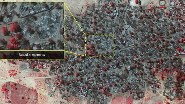 Satellitfoto tagen 7 januari efter Bokom Harams attack. Foto: Amnesty International