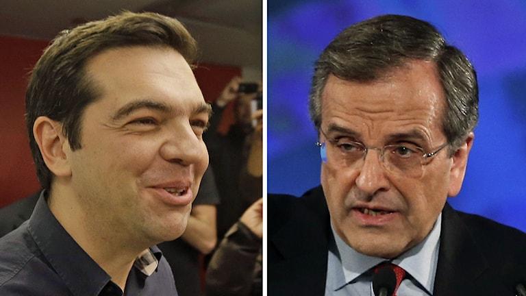 Delad bild: Utmanaren Alexis Tsipras och sittande premiärminister Antonis Samaras. Foto: AP.