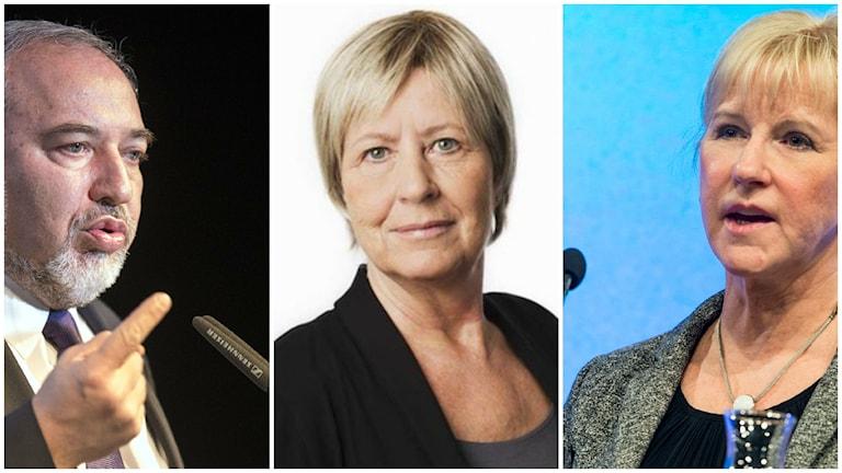 Israels utrikesminister Avigdor Lieberman, Ekots kommentator Agneta Ramberg och utrikesminsiter Margot Wallström