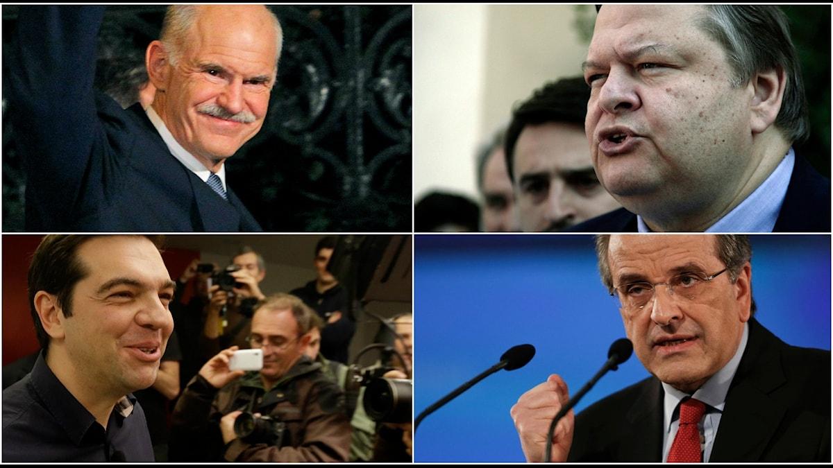 Ledarna för Greklands fyra största partier. Foto: TT