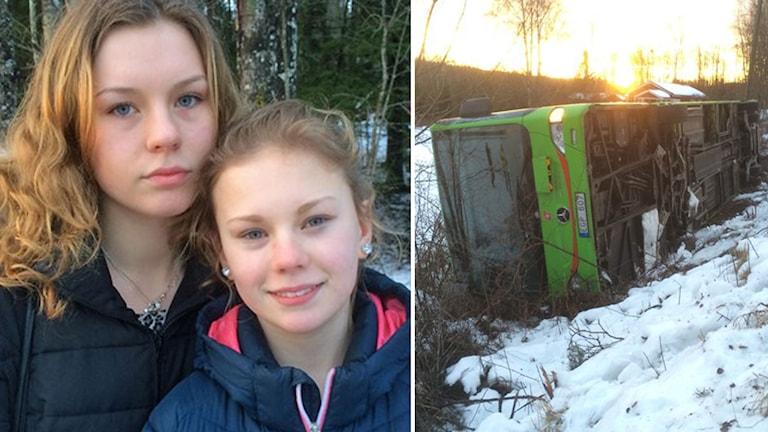 Linnea och Emilia Åkerman. Bussen som välte. Foto: Fredrik Lorenzoni/Sveriges Radio.