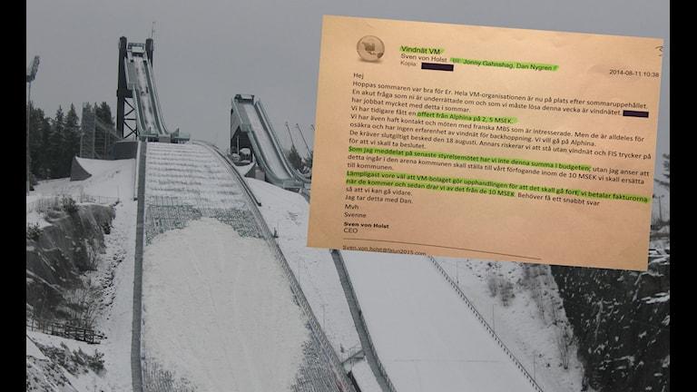 Ett montage av backhoppningsbackarna i Falun och ett mail.