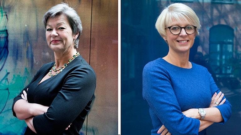 Ylva Johansson och Elisabeth Svantesson. Montage/SR