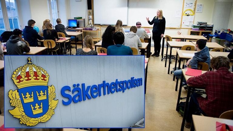 Klassrum i en svensk skola, Säkerhetspolisen Säpo. Foto: TT