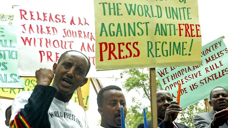 Arkivbild: Etiopiska journalister protesterar för pressfrihet. Foto: Sayyid Azim/AP.