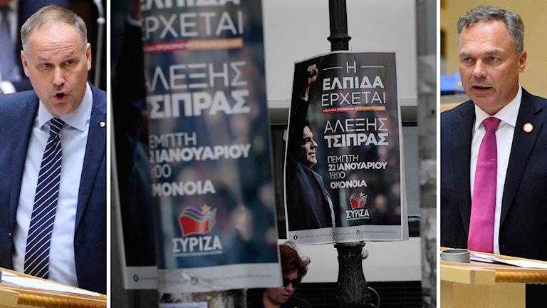 Jonas Sjöstedt (V) och Jan Björklund (FP) debatterar vänsterpartiet Syriza framgångar i Grekland. Foto: TT