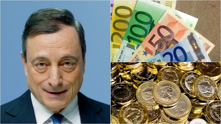 ECB-chefen Mario Draghi och en massa euro.