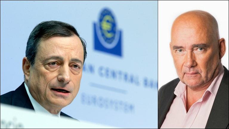 ECB-chefen Mario Draghi och Sveriges radios ekonomikorrespondent Staffan Sonning. Foto: TT/Ekot