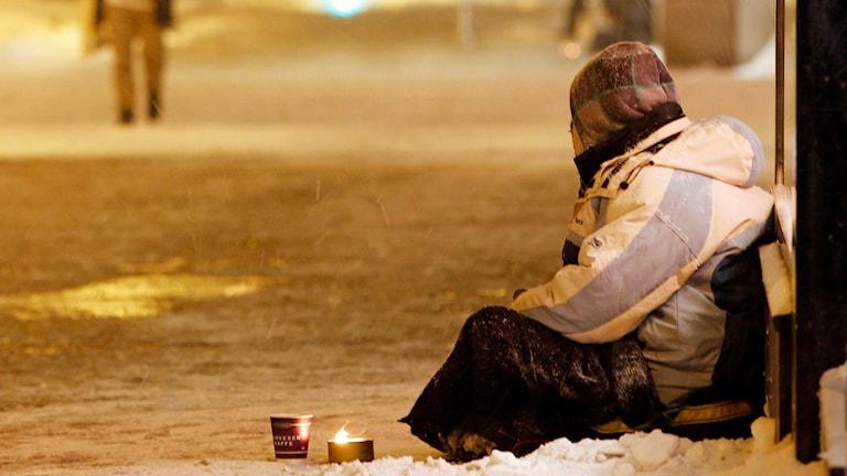 En tiggare i Oslo. Foto: Håkon Mosvold Larsen/TT.