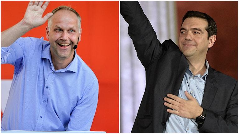 Collage: Jonas Sjöstedt och Alexis Tsipras vinkar i varandras riktning.