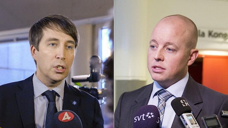 Richard Jomshof ska ta över rollen som partisekreterare i SD efter Björn Söder. Foto: TT. Montage: Sveriges Radio.