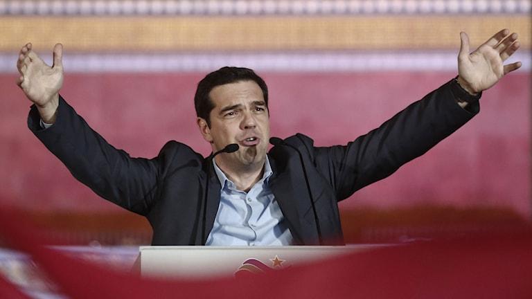 Ledaren för Syriza Alexis Tsipras har under eftermiddagen svurits in och blivit Greklands nye premiärminister. Foto: TT.