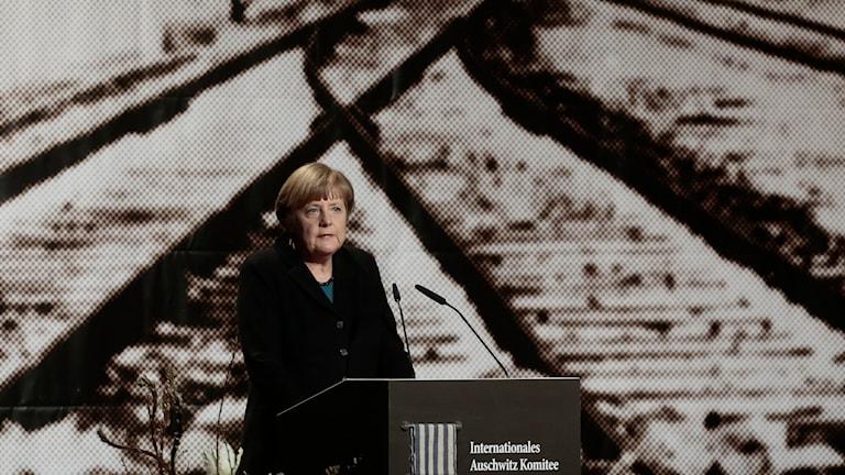 Tysklands förbundskansler Angela Merkel höll under måndagen ett tal inför 70-årsdagen. Foto: TT.