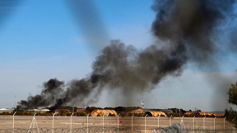 Flygkrasch i Nato-bas, i sydöstra Spanien. Foto: TT