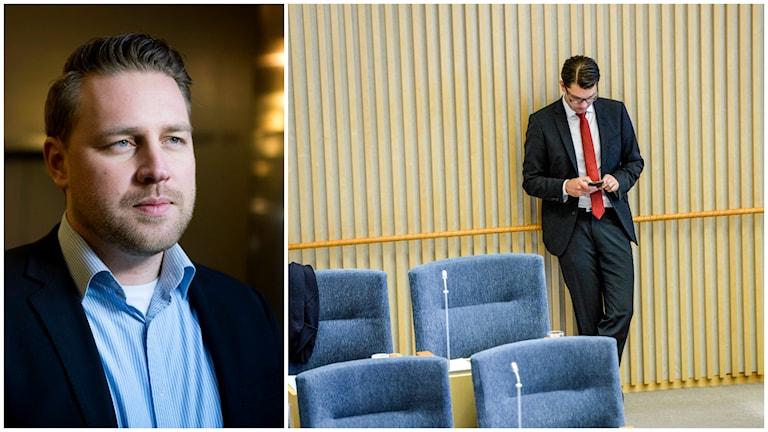 Tillförordnade SD-ledaren Mattias Karlsson har gott hopp om att Jimmie Åkesson ska vara tillbaka snart. Foto: TT