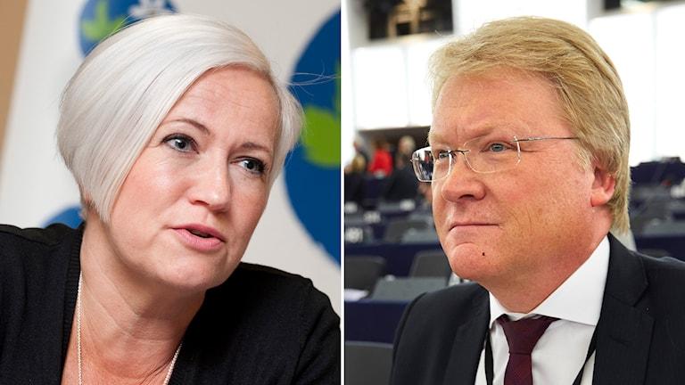 Acko Ankarberg Johansson, partisekreterare i Kristdemokraterna, och Lars Adaktusson i EU-parlamentet. Foto: TT