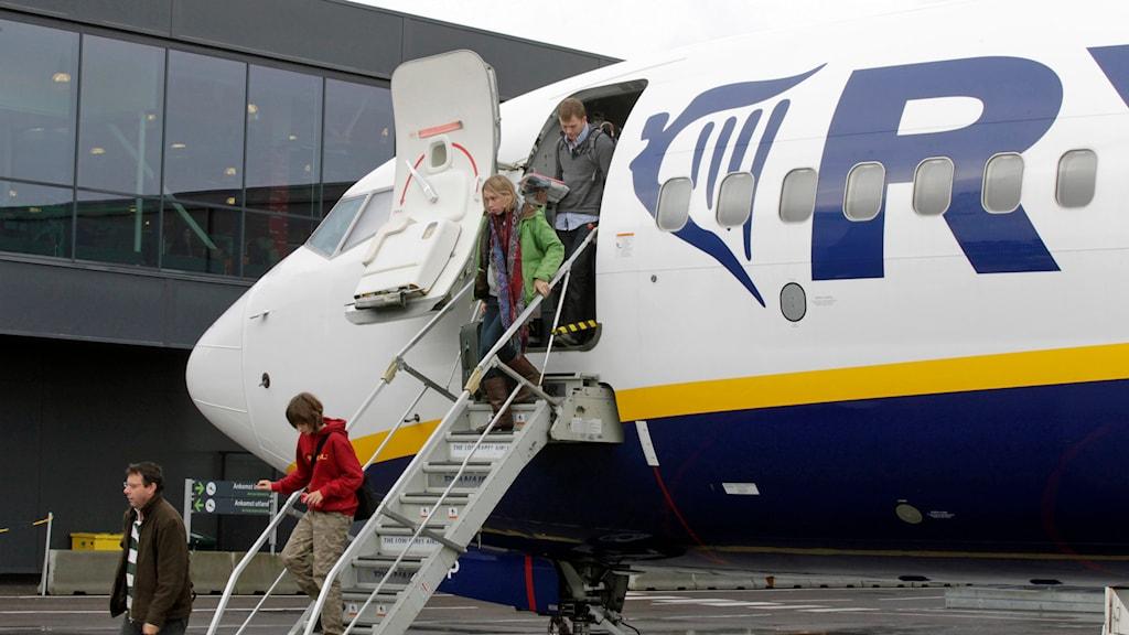 Ett av Ryan airs flygplan. Foto: Morten Holm/TT.