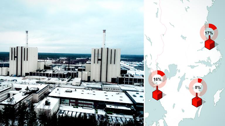 Forsmarks kärnkraftverk, reaktor 1 och 2. Foto: Ci Holmgren. Grafik: Liv Widell