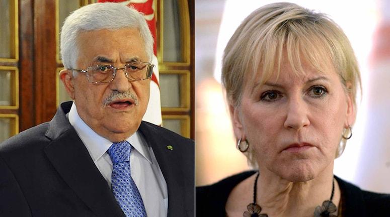 Palestiniernas president Mahmoud Abbas och utrikesminister Margot Wallström. Foto: TT