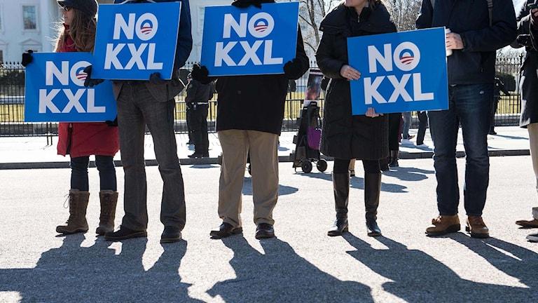 Demonstration mot den planerade oljeledningen XL. Foto: Nicholas Kamm/TT.