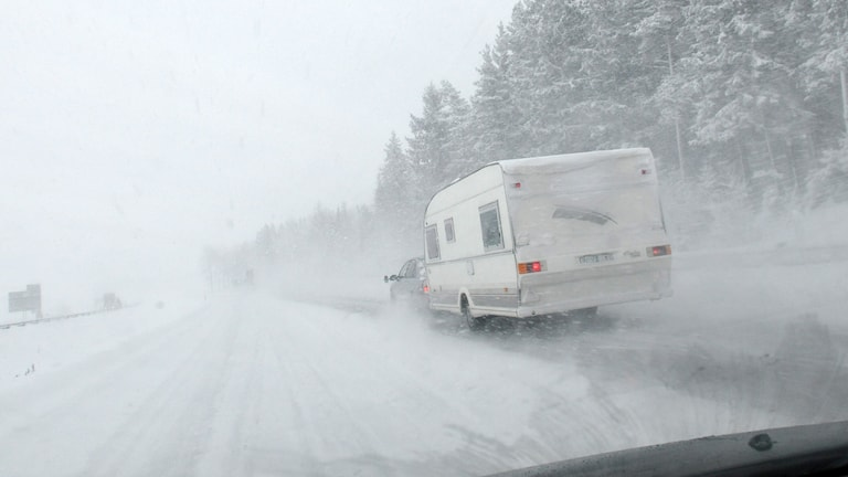 Snö, krock, bil