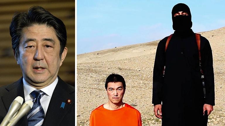 Japans Premiärminister Shinzo Abe talar efter en video när den japanske journalisten Kenji Goto mördats släppts. Foto: Kyodo News/AP/TT.