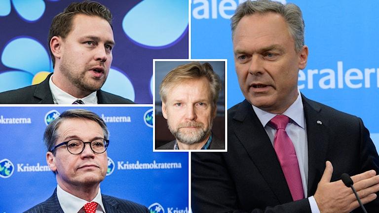 Tomas Ramberg om vårdnadsbidraget, Göran Hägglund (KD), Mattias Karlsson (SD) och Jan Björklund (FP). Foto: TT
