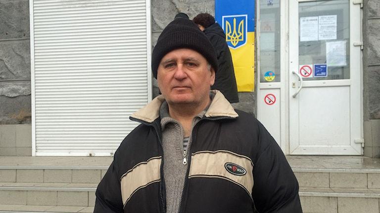 Vladimir Bantjenko flydde från staden Debaltsevo i förrgår. Foto: Johanna Melén/Sveriges Radio.