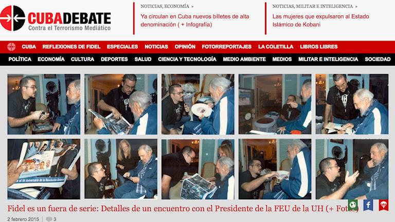 Skärmdump från Cubadebate.cu visar första bilderna på Fidel Castro på fem månader. Foto: TT Foto: TT / AP Photo