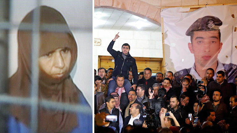 En av de två dödsdömda som hängdes i gryningen på onsdagen var irakiskan Sajida al-Rishawi (till vänster). Hon dömdes till döden av jordansk domstol 2006 för sin inblandning i ett trippelbombdåd som tog 60 människors liv i huvudstaden Amman. Till höger: Jordanier uttrycker sin sorg och ilska över den dödade Jordanske piloten.