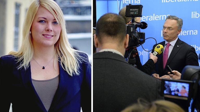 Delad bild: Hanna Håkansson, riksordförande för Liberala studenter samt Jan Björklund, partiledare för Folkpartiet. Foto: Pressbild samt TT.