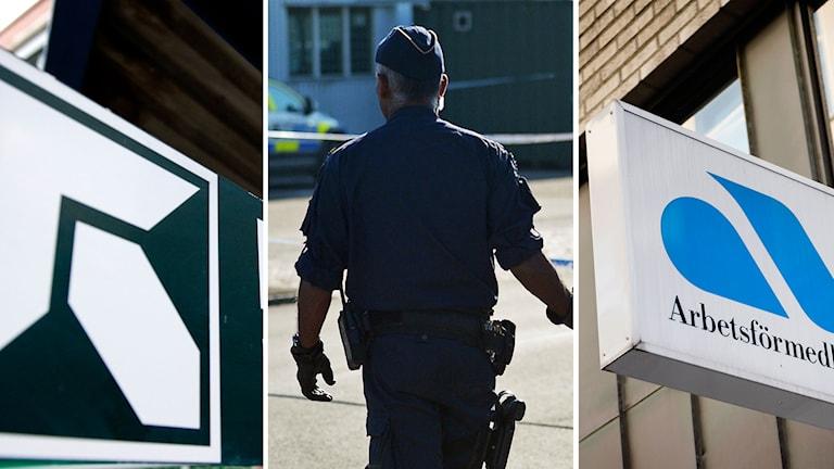 Delad bild: Försäkringskassan, polis, arbetsförmedlingen. Foto: TT.