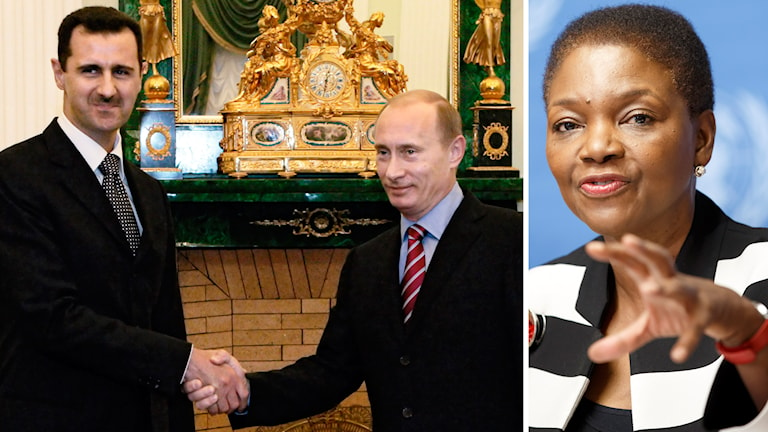 Syriens president Bashar al-Assad och Rysslands president Vladimir Putin, FN:s katastrofsamordnare Valerie Amos. Foto: TT