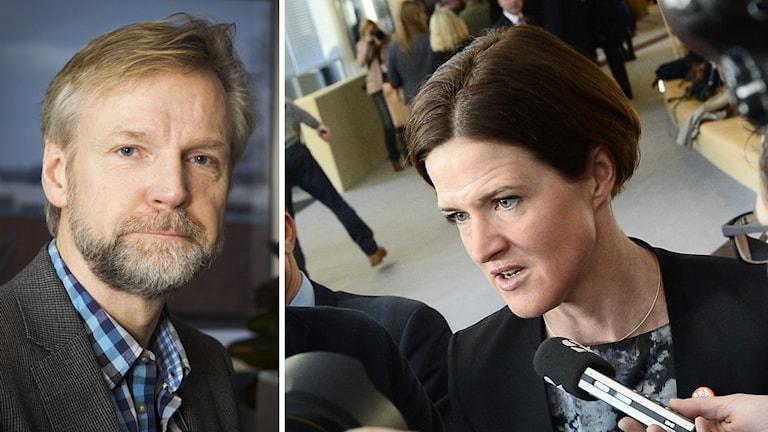 Delad bild: Tomas Ramberg, Ekot och Anna Kinberg Batra, partiledare för Moderaterna. Foto: Sveriges Radio samt TT.